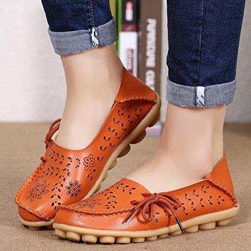 EQUICK Damen Leder Slipper Lässige Mokassin Driving Outdoor Schuhe Innen Flache Slip-On Slippers Orange