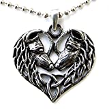 Wolf Magic Pagan Knot Celtic Pendant Heart Triquetra Couples Love Horse Pewter w Silver ball chain