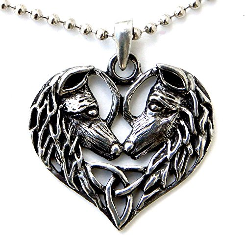 New Pewter Celtic Knot - Wolf Magic Pagan Knot Celtic Pendant Heart Triquetra Couples Love Horse Pewter w Silver ball chain