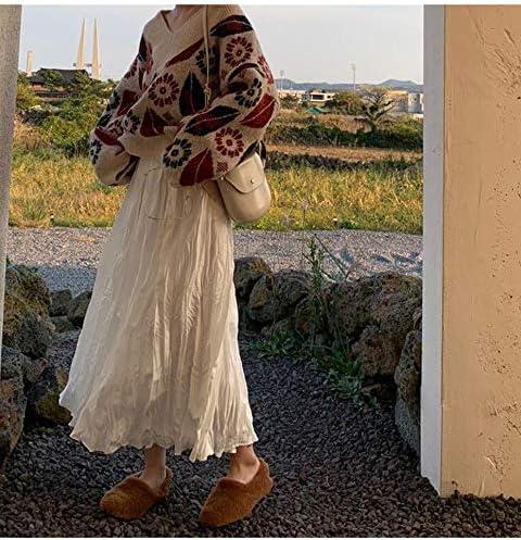 XGDLYQ Black Fold Pleated Skirt Women Fashion Casual High Waist Solid Skirt Female A-line Skirt White