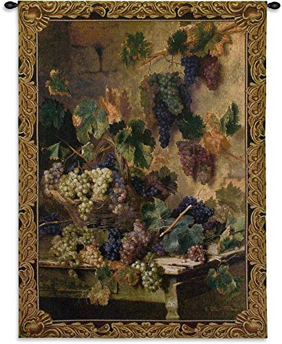 Harvest in Tuscany by Oreste Costa | Woven Tapestry Wall Art Hanging | Earthy Grape Harvest Still Life | 100% Cotton USA Size 53x39