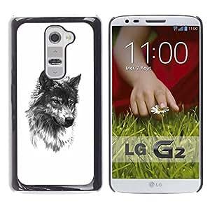 A-type Arte & diseño plástico duro Fundas Cover Cubre Hard Case Cover para LG G2 (Wolf Pet Dog Fang Black White Sketch)