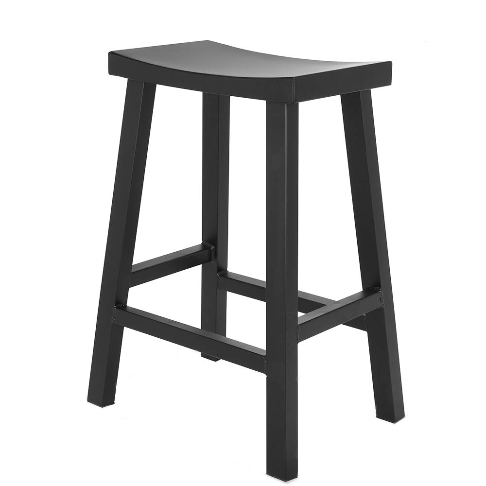 Renovoo Steel Saddle Seat Counter Stool, Commercial Quality, Matte Black Powder Coated Finish, 24 inches Seat Height, Indoor and Porch Use, 1 Pack by Renovoo