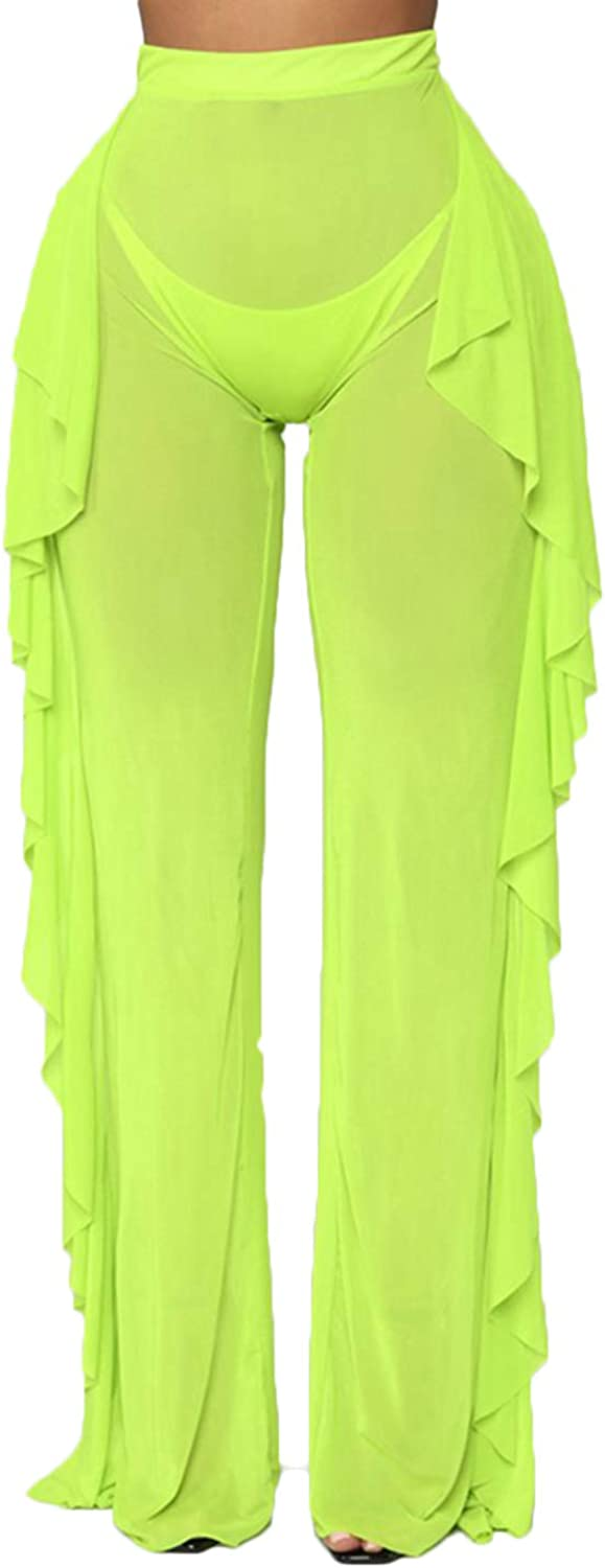 Mikely store Womens See Through Mesh Pants Transparent Bikini Bottom Cover Up Ruffle Long Pants