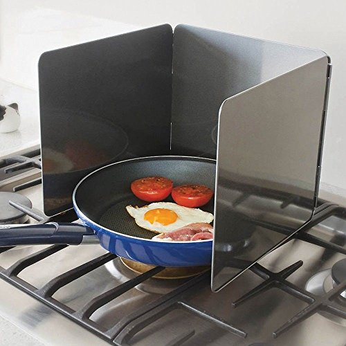 """Nonstick 3 Sided Splatter Guard Cover Bacon Grease Shield 9X10"""" Panels"""