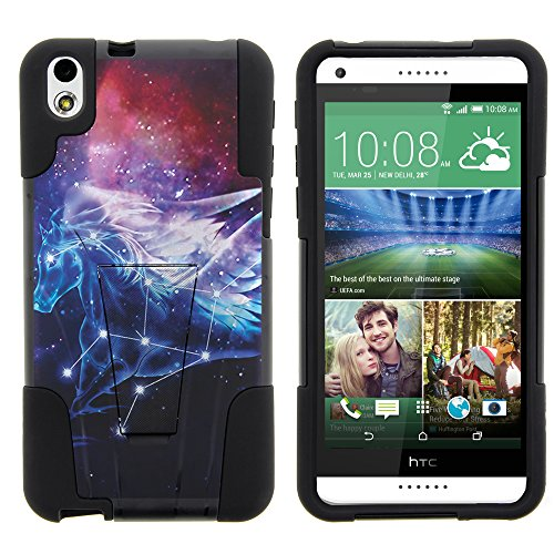 HTC Desire 816 Case, Silicone Gel and PC Combination STRIKE Impact Kickstand Case with Dazzling Designs for HTC Desire 816 (Virgin Mobile) from MINITURTLE   Includes Clear Screen Protector and Stylus Pen - Pegasus Constellation Stars