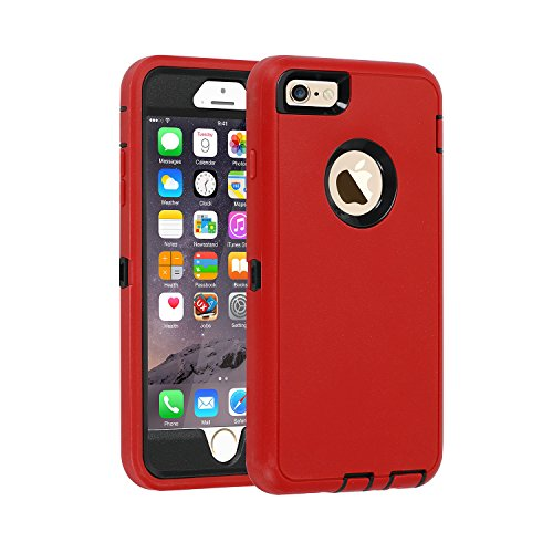 iPhone 6s Plus/6 Plus Case,Heavy Duty Armor 3 in 1 Built-in Screen Protector Rugged Cover Dust-Proof Shockproof Drop-Proof Scratch-Resistant Anti-Slip Shell for iPhone 6+/6s+ 5.5 inch,Red/Black