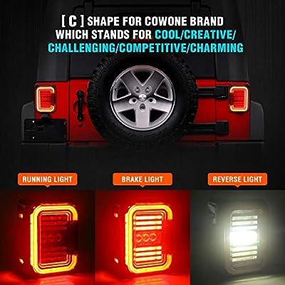 Smoked Lens LED Tail Lights [Stereoscopic Design] for Jeep Wrangler JK JKU 2007-2020 [20W Reverse Lights] Brake Reverse Light Rear Back Up Lights Daytime Running Lamps [DOT Approved]: Automotive
