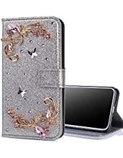 EnjoyCase Bling Case for Galaxy A10,Shiny Glitter Diamond Wallet Case with Kickstand Card Slots Magnetic Closure Butterfly Flower Flip Leather Case for Samsung Galaxy A10,Silver