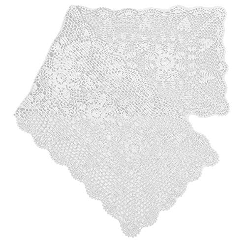 gracebuy 16X63 Inch White Rectangle Handmade Crochet Lace Tablecloth - Doily Crochet Thread