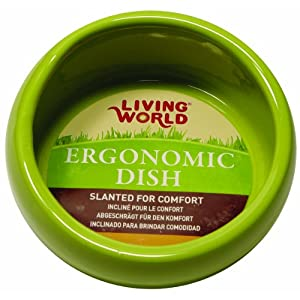Living World Ergonomic Small Animal Food Dish – for Rabbits, Guinea pigs, Gerbils, and Ferrets