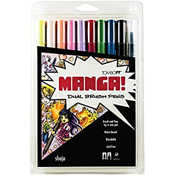 Tombow Dual Brush Pen Art Markers, Manga Shojo, 10-Pack