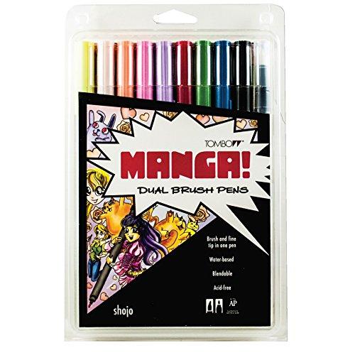 Tombow Dual Brush Pen Art Markers, Manga Shojo, 10-Pack Tombow Permanent Pen