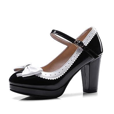 Amazon.com: HILIB Mary Jane Zapatos de tacón alto para mujer ...