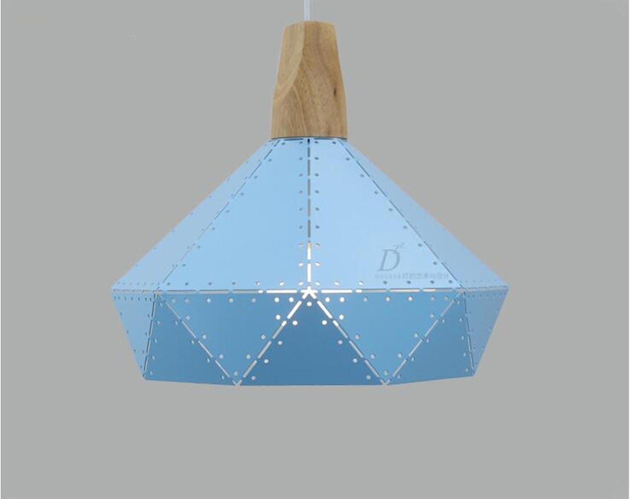 TQ Postmoderne minimalistische Nordic Massivholz Pendelleuchte kreative Loft Esszimmer Studie Korridor Balkon Kronleuchter Macaron farbige Eisen Pendelleuchte (A), Blau