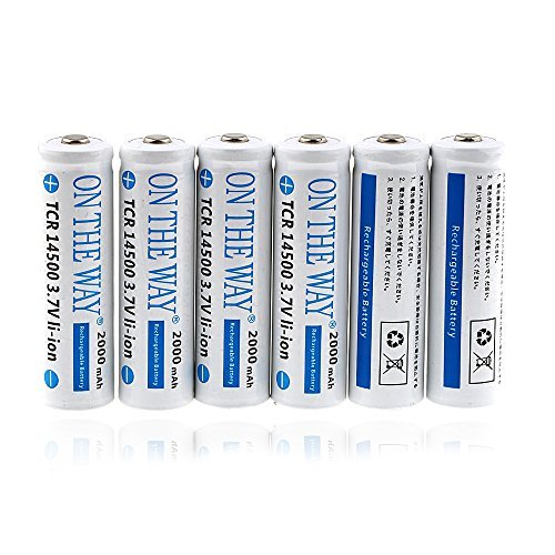 ON THE WAY®6Pcs 2000mah ICR 14500 3.7V AA Rechargeable Li-ion Battery for LED Torch