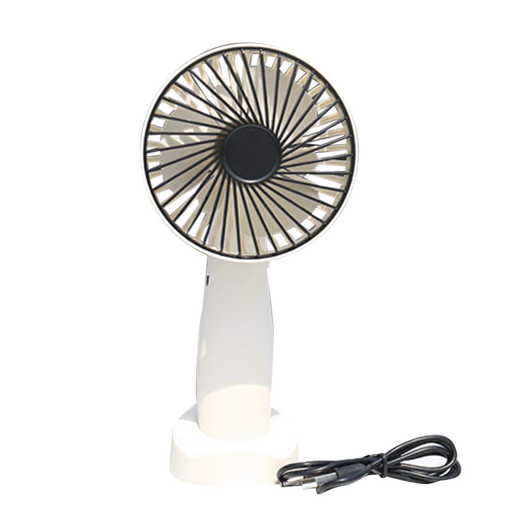 Staron 1200 mAh Battery Handheld Fan Rechargeable Portable USB Powered Cooling Fan Adjustable 3 Speeds Foldable With Mobile Phone Holder (White)