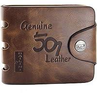 محفظة ثنائية الطي من جلد اصلي للرجال، لون بني، F1240