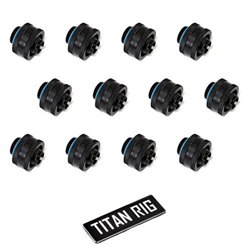 """XSPC G1/4"""" to 3/8"""" ID, 5/8"""" OD Compression Fitting V2 for Soft Tubing, Matte Black, 12-Pack"""