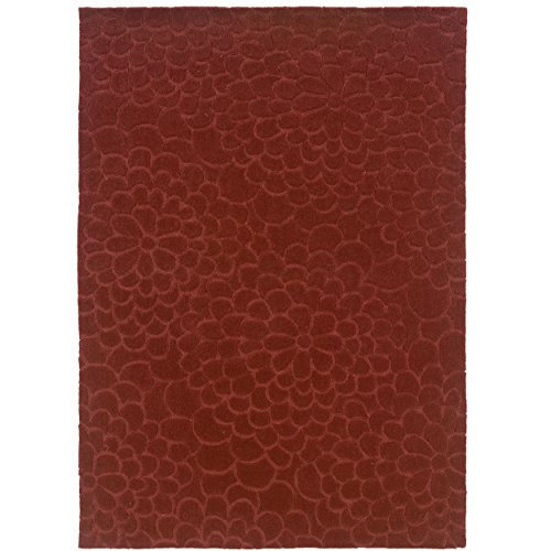Linon Hand Tufted Trio Collection Floral Trace Rust Polyester Rug (5' X 7') - Trio Collection Rectangular Rug