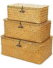 Liseng Geweven mand opbergbox met deksel - set van 3 - rechthoekige zeegras-mand / opbergmand voor rek organizer