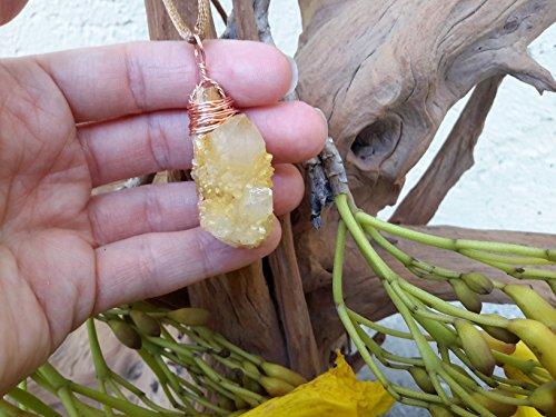 Citrine Spirit Quartz (Cactus Quartz) Crystal Double Point Pendant Wire Wrapped in Copper, Metaphysical, New Age