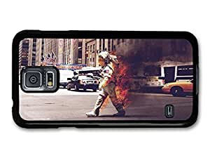 AMAF ? Accessories Burning Astronaut Walking in New York Funny Space Picture case for Samsung Galaxy S5
