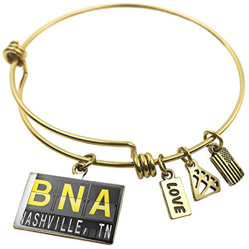 Expandable Wire Bangle BraceletBNA Airport Code for Nashville, TN, - Nashville Tn Airport