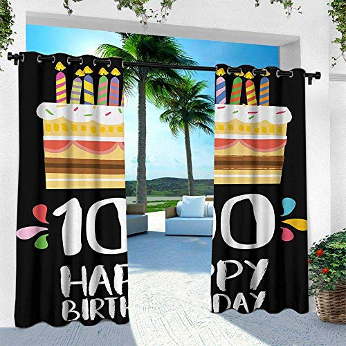 Hengshu 100th Birthday, Outdoor- Free Standing Outdoor Privacy Curtain,Old Legacy 100 Birthday Party Cake Candles on Black Major Milestone Backdrop, W84 x L108 Inch, ()
