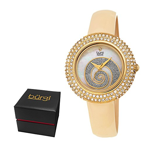 Burgi Women's BUR209YG Swarovski Crystal Diamond Accented Sparkle Swirl Mother of Pearl Yellow Gold & Crème Leather Strap Watch - Packed in a Beautiful Gift Box, Perfect for Mothers Day -