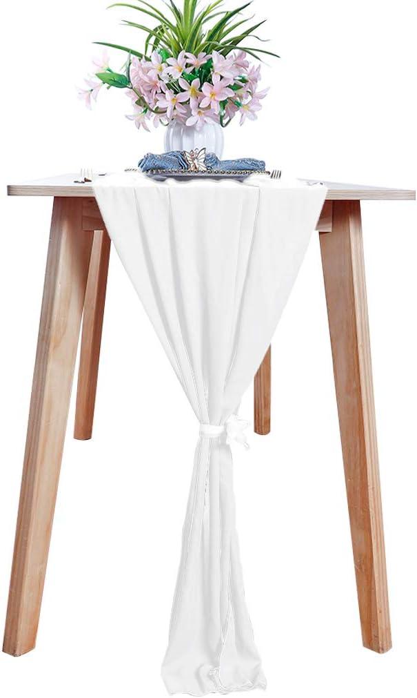 Chemin de table en mousseline de soie Blanc 29 x 120 pouces Chemin de table transparent 10FT Chemin de table de jardin long D/écorations de rideaux en mousseline de soie Chemin de table de No/ël