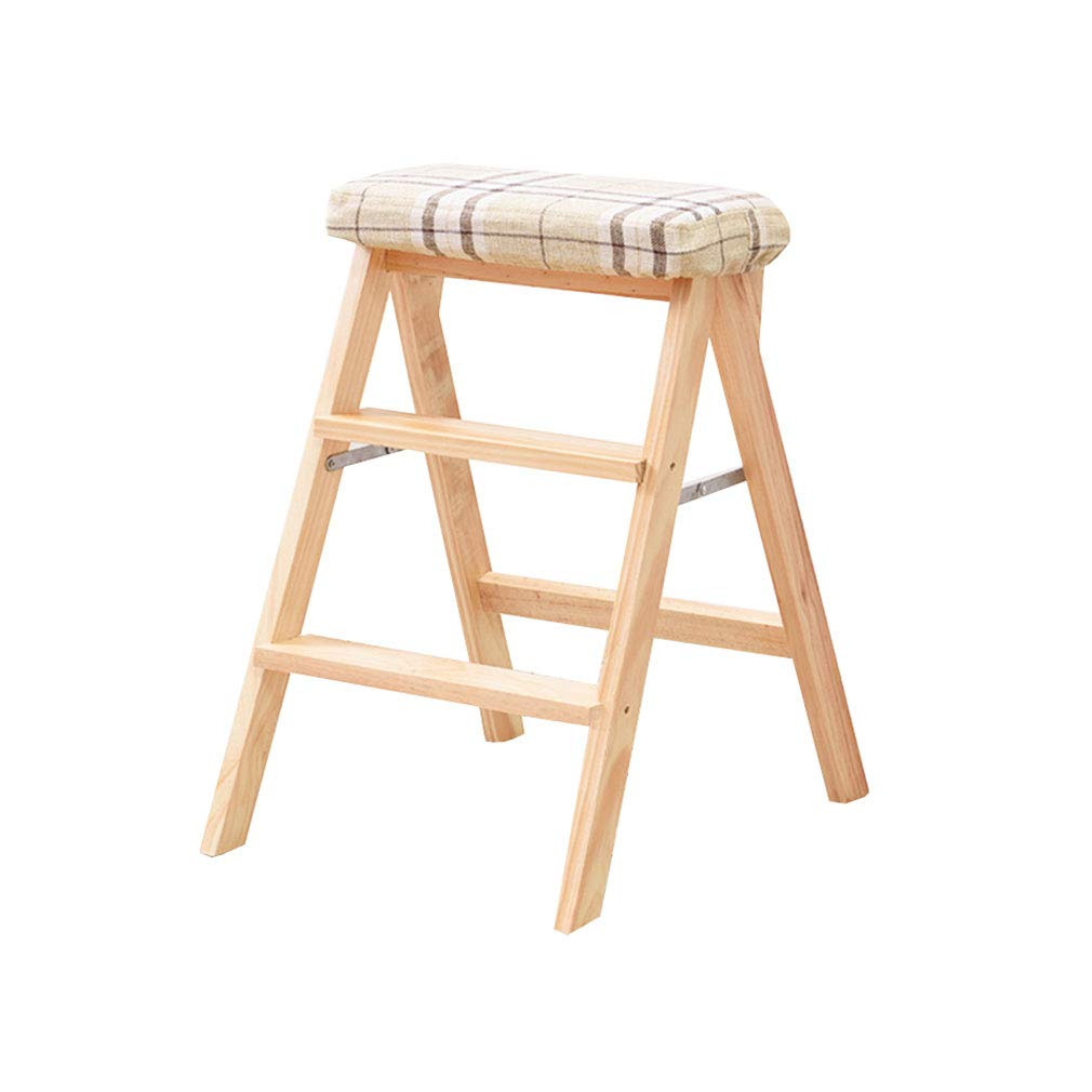 2 Folding 3 Step Ladder Stool Solid Wood with Cushion High Foot Stool Bar Stool Flower Rack Shelves Multi-Function (color    2)