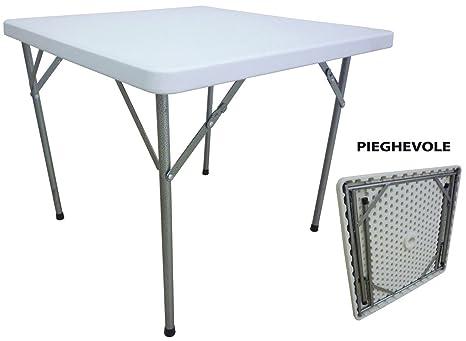 Tavolo Pieghevole Bianco : Tavolo tavolino pieghevole quadrato in dura resina di plastica