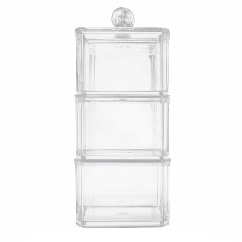 Hennta 3 Level Makeup Brush Holder Dustproof Storage Box Thick Acrylic Makeup Organizer Lipstick Cosmetic Organizer Clear Display Holder Cosmetic Storage Beauty Container Tray
