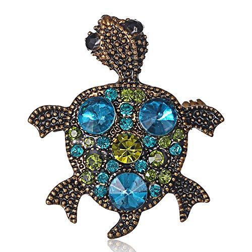 AILUOR Vintage Turtle Brooch Pins, Fashion Women's Rhinestone Crystal Big Tortoise Pin Brooches Jewelry Gifts (Blue) -