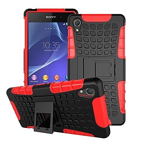 BCIT Sony Xperia Z2 Cover Escabroso Durable Estuche Protector TPU/PC Funda Carcasa Case para Sony Xperia Z2 - Rojo