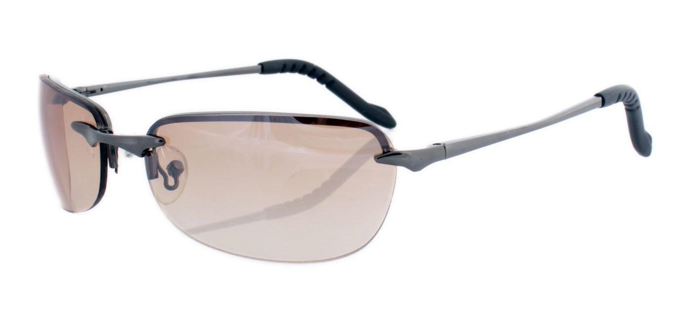 Rahmenlose Sonnenbrille mit Flexbügeln aus Metall hellbraun spiegelnd vehEh