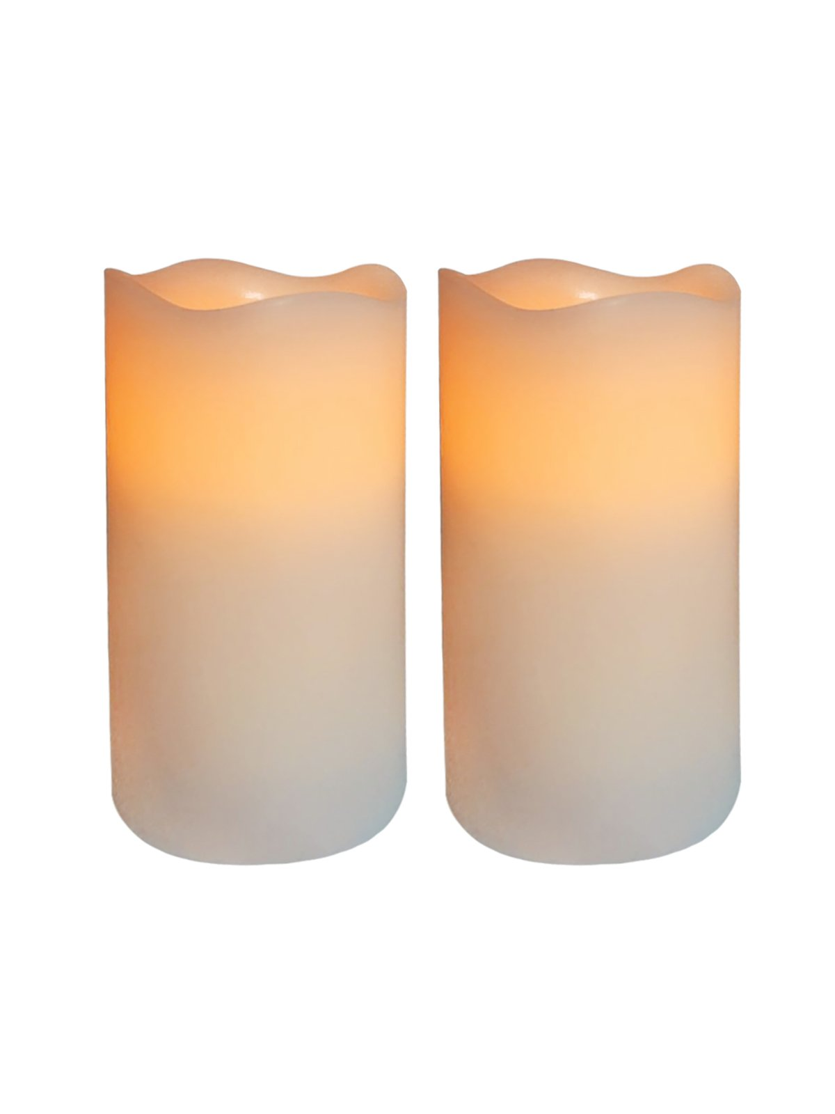 THEA HOME Battery Operated LED Flamelss Candles, Artificial Candles Flickering, 2AA Battery requirements,Flickering Flameless Candles with Timer.Set of 2,Real wax LED candles,White