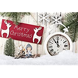 Laeacco Christmas Theme Backdrop 8x6ft Vinyl Photography Background Christmassy Pine Needle Red Reindeers Merry Christmas Wood Sign Cute Dolls White Alarm Clock Child Baby Portrait Xmas Greeting Card