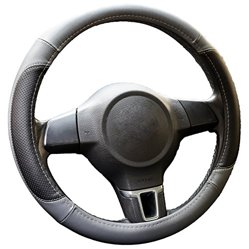 Gray Microfiber Leather Car Steering Wheel Cover - Smooth Grip, Odorless, Heat-Resistant Steering Cover - Slim Universal Fit, 15 Inch Diameter by Ingalle (Porsche Steering Wheel)