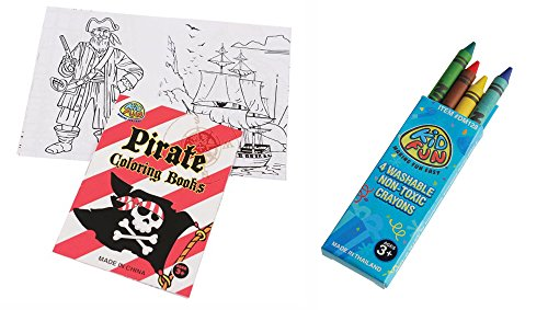 USToy 24 Piece Pirate Coloring Book & Crayons Bundle