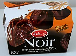Witor's Noir - Made in Italy, Italian Extra Dark 72% Chocolate Candy with Cocoa Cream Filling 6.34oz / 180g