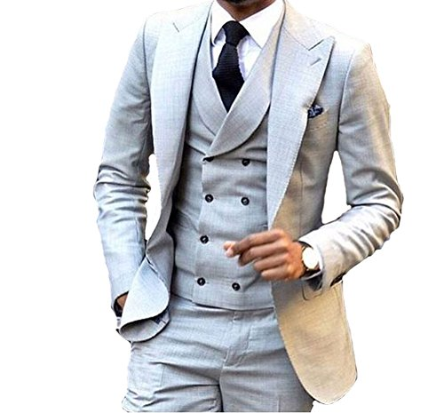 Tuxedo Peak Breasted Jacket Double (Grey Double Breasted 3 Pieces Men Suits Wedding Suits for Men Groom Tuxedos-Grey-S)