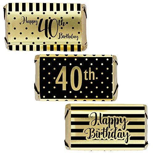 (Black and Gold 40th Birthday Mini Candy Bar Wrappers | Shiny Foil | 45 Count)