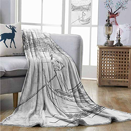 (Homrkey Throw Blanket Venice Rialto Bridge with Gondola Romantic Italian Landmark Inspired Sketchy Cityscape Large Throw Blanket W40 xL60 Black White)