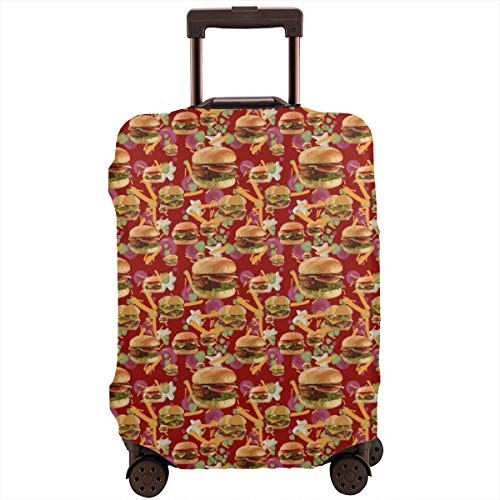 Red Hamburgers French Fries Zipper Travel Luggage Suitcase Cover Baggage Protector Anti-Scratch Luggage Case Dustproof Protective Cover for 18-28 Inch Suitcase, Removing-Free