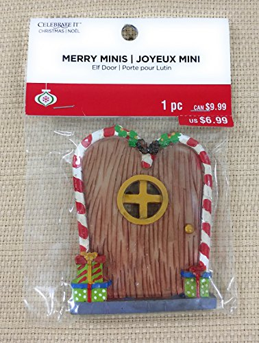 Celebrate it - Merry Minis - Miniature Christmas Door - Brown Door with Candy Cane Frame & Presents