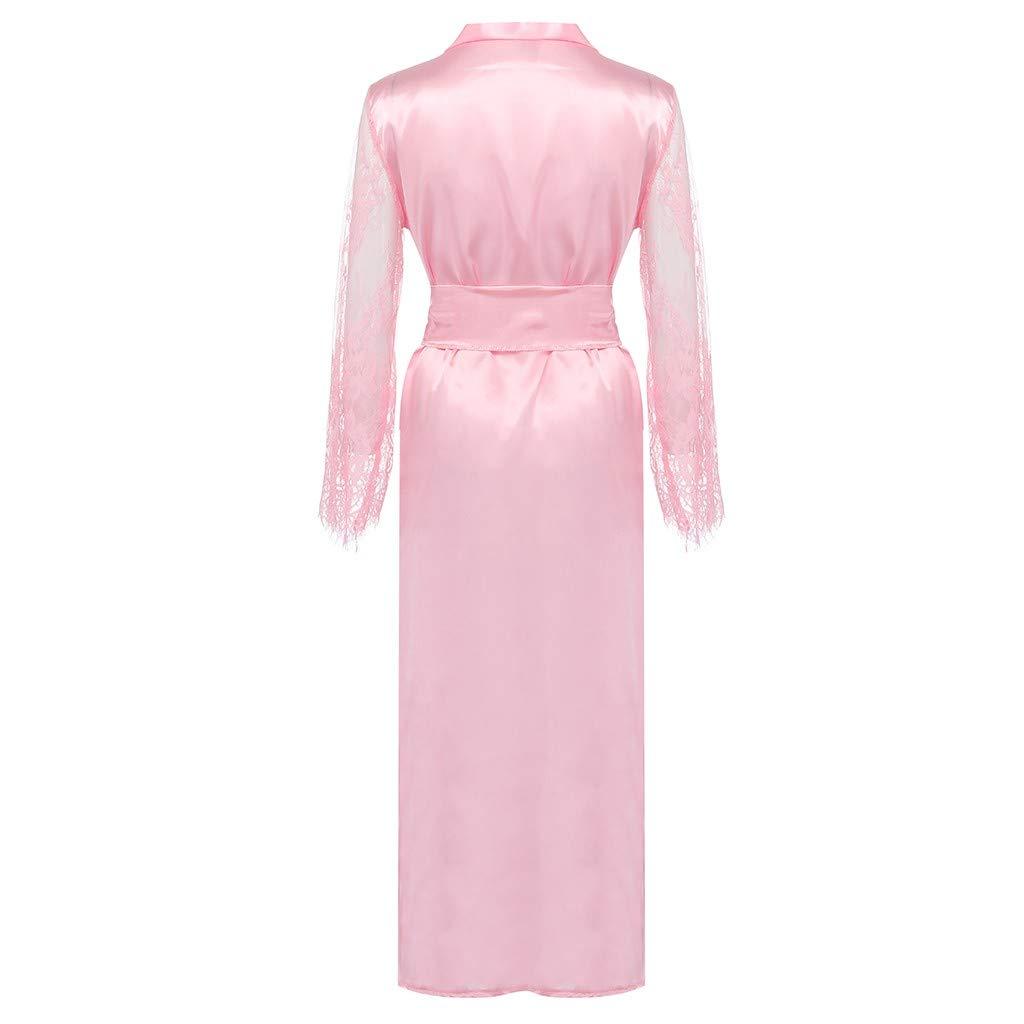 Pervobs Women Satin Pure Colour Long Sleeve Belt Long Nightdress Silk Lace Lingerie Nightgown Sleepwear Sexy Robe(L, Pink) by Pervobs Lingerie & Sleepwear (Image #7)