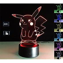 LIONKING USA Pokemon Pikachu 3D Optical Illusion Multi-colored Change Touch Botton Table Light - 3D Acrylic Home Decor lamp 0069
