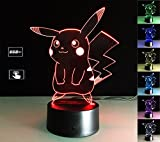 LIONKING USA Pokemon Pikachu 3D Optical Illusion Multi-colored Change Touch Botton Table Light - 3D Acrylic Home Decor lamp 0069